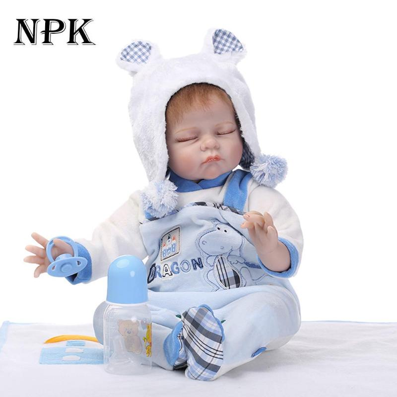 NPK New 22 Inch Reborn Vinyl Dolls Realistic Baby Doll Boy Full Silicone Lifelike Reborn Baby Toys For Kids Birthday Gifts цена
