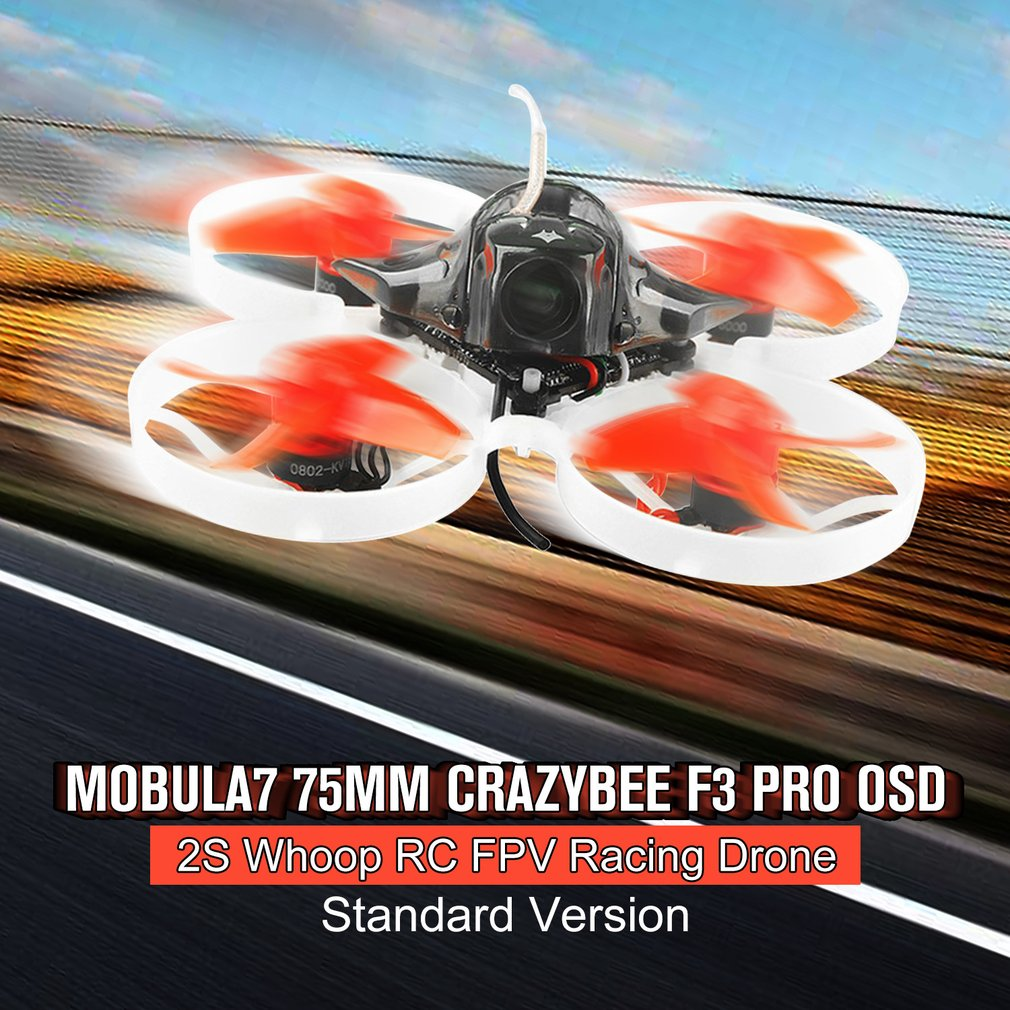 Happymodel Mobula7 75mm Mini Crazybee F3 Pro OSD 2S Whoop RC FPV Racing Drone Quadcopter with Upgrade BB2 ESC 700TVL BNFHappymodel Mobula7 75mm Mini Crazybee F3 Pro OSD 2S Whoop RC FPV Racing Drone Quadcopter with Upgrade BB2 ESC 700TVL BNF