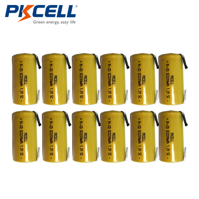 12 pièces PKCELL NiCd batterie Rechargeable Sub C SC 1.2V 2200mAh ni cd Batteries et onglets