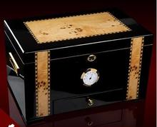 Роскошные сырой снег дерево высокая capaciity сигары коробка для хранения деревянный ящик для хранения сигары organizador мужчин подарочной коробке XJH015