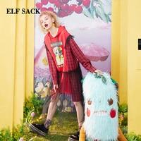ELF SACK 2019 Summer Dress Preppy Style Cat Print Woman Cotton Dresses Mesh Patchwork Hooded Knee Length A line Laides Vestidos