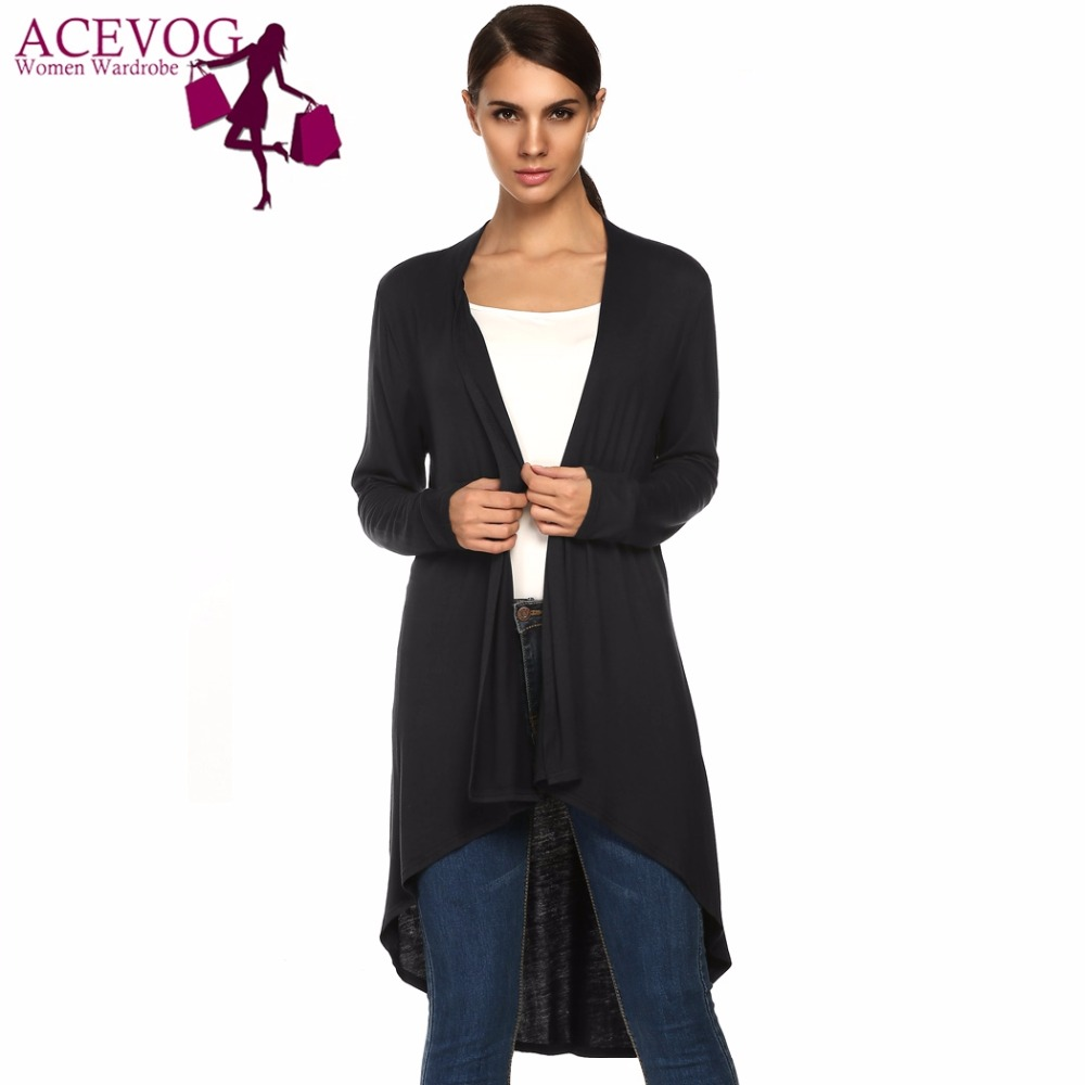 ACEVOG Brand Autumn Knitted Cardigan Women Casual Open Stitch Long Sleeve Asymmetric Hem Solid Loose Long Sweater Female Kimono