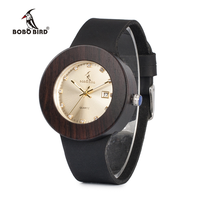 BOBO BIRD Men and Women Wood Watches with Genuine Leather Strap Calendar Display