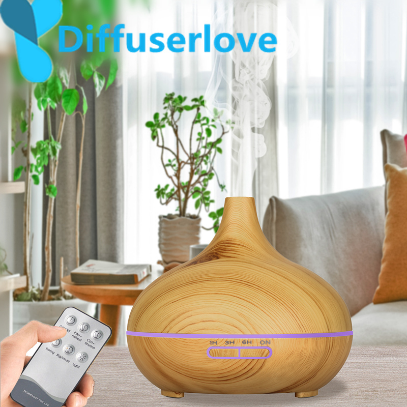 Diffuserlove 300ML remote control Air Humidifier Essential Oil Diffuser Wood Grain 7 Color Changing LED Light Electric Diffuser
