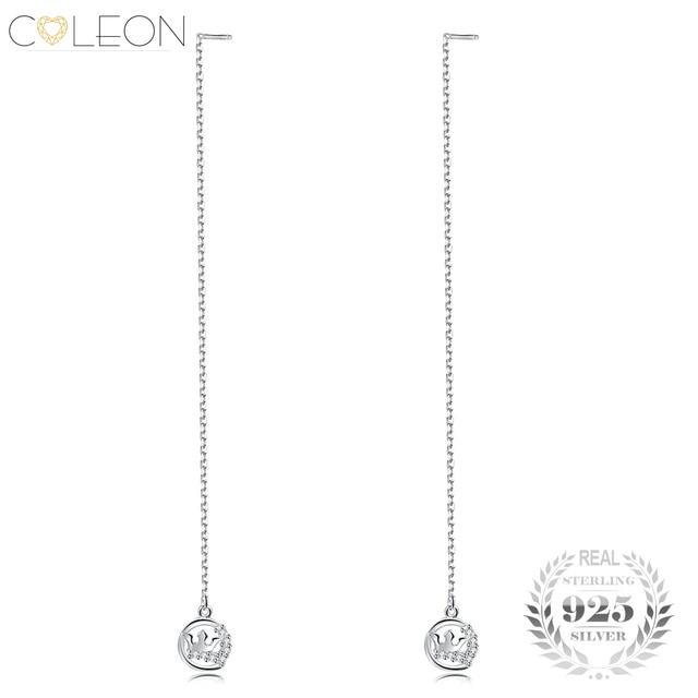 Coleon Fine Round Crown Drop Earrings 925 Sterling Silver Long Link Chain Dangling Earring Women Various