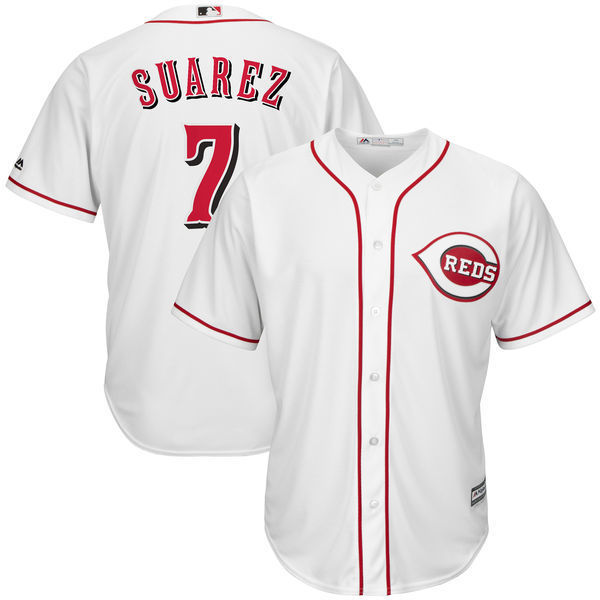 MLB Mens Cincinnati Reds Eugenio Suarez Baseball White Cool Base Home Player Jersey