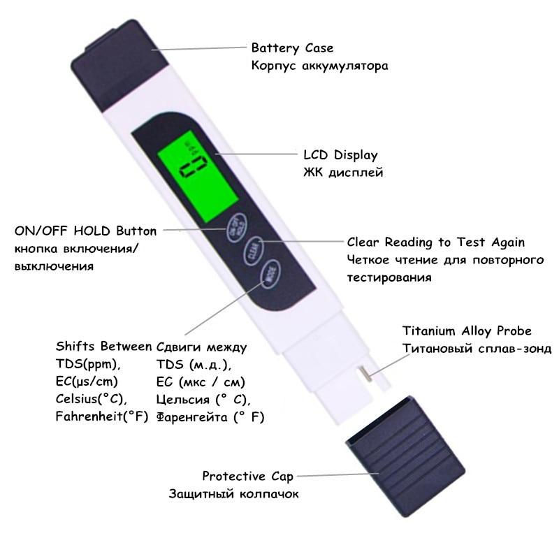 Miernik TDS EC Tester temperatury długopis 3 In1 Funkcja - Przyrządy pomiarowe - Zdjęcie 3