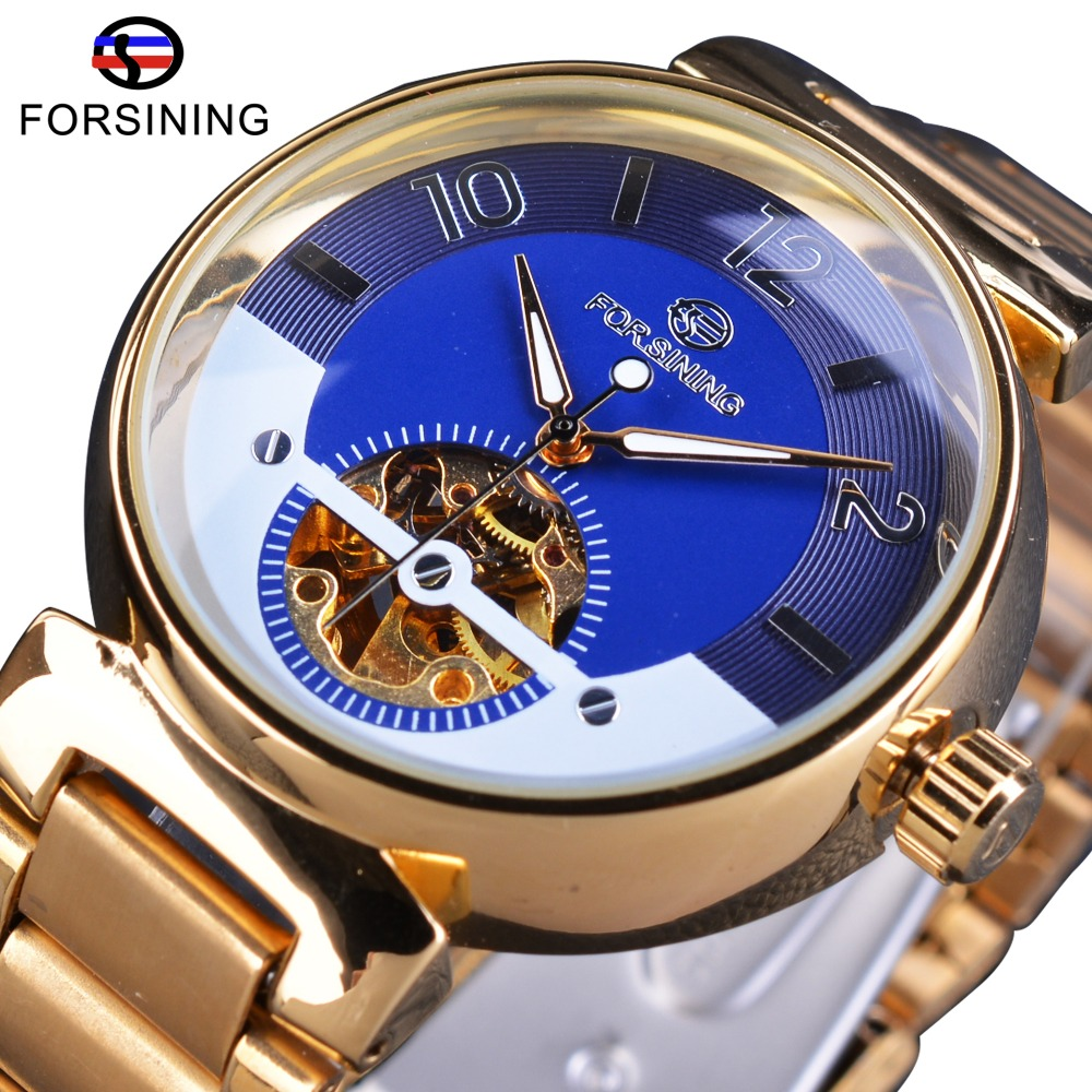 Forsining Ocean Luxury Dial Design Liten Skelett Display Golden Stainless Steel Mens Automatiska Klockor Top Brand Luxury Clock