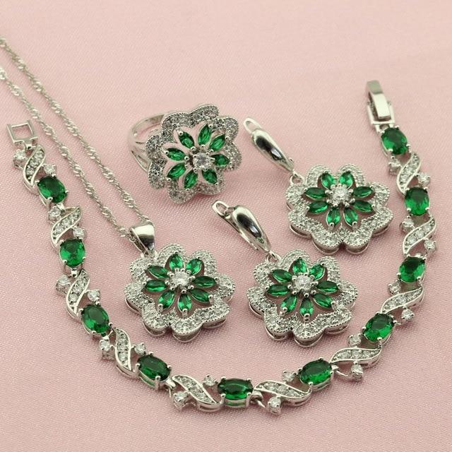 Aliexpresscom Buy Women Green Cubic Zirconia Silver Color Wedding