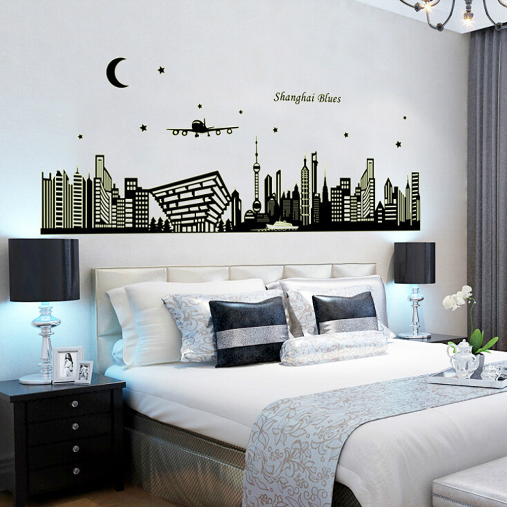 High quality city silhouettes luminous stickers living for Luminous bedroom
