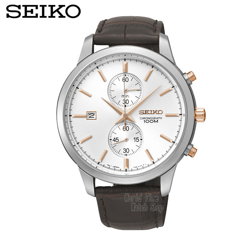 SEIKO Watch Chronograph Watches Quartz Watches Business Casual Belt Watches SNN277J1 seiko watch premier series sapphire chronograph quartz men s watch snde23p1