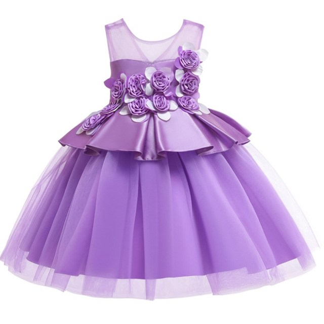 Flower Girl Dress Pageant Formal Satin Sleeveless Baby Girls Dresses Vestidos Wedding Party Children Clothes Birthday Clothing