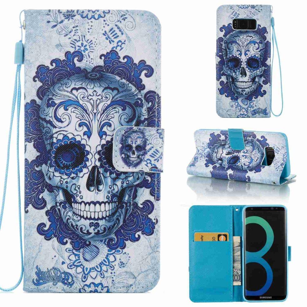 Moda colorida pintura cráneo fresco soporte Flip de cuero cartera ...