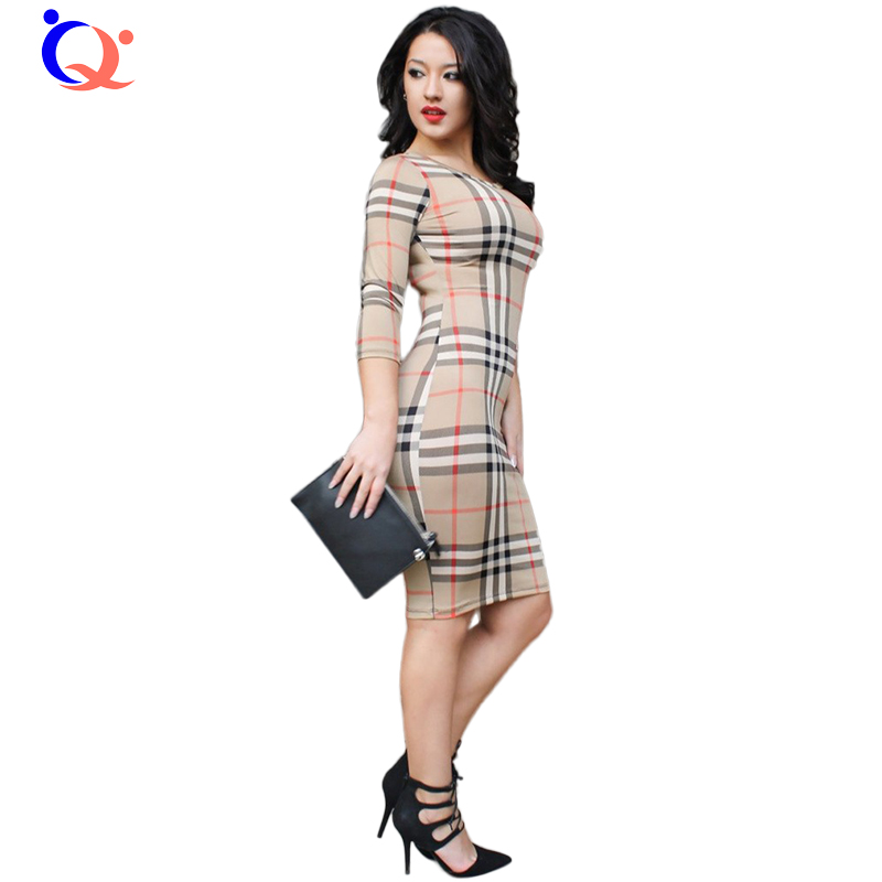 Women font b Tartan b font Bodycon Dress Autumn Classic Long Sleeves O neck Slim Fit