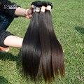 4 paquetes de lote, luz yaki del pelo humano de la armadura, 6a brasileño de la virgen pelo remy yaki recto, extensiones de cabello natural sin procesar
