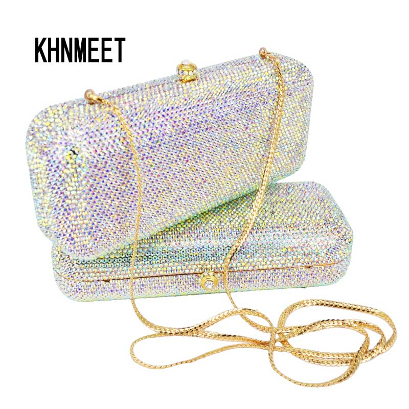 white crystal evening bags Luxury diamond Clutch bags silver color party bags women wedding pochette bride
