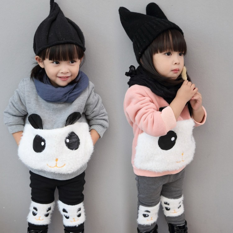 Children Set  girls Clothing sets winter  hoody Down coat+ Trousers Windproof Rabbit Warm kids Clothes suit 2 color for 80-120cm down the rabbit hole
