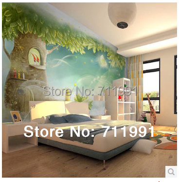 Free shipping custom TV wall mural childrens room cozy bedroom