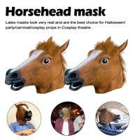 Horse Mask Halloween Horse Head Mask Latex Creepy Animal Costume Theater Prank Crazy Party Halloween Decoration