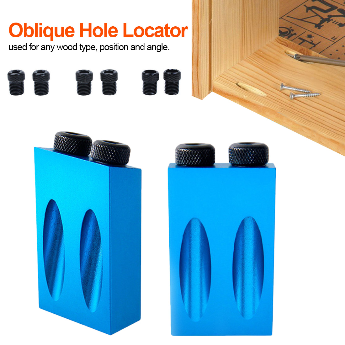6/8/10mm Angle Drill Guide Set Hole Puncher Locator Jig Drill Bit Set Woodworking Pocket Hole Jig Kit For DIY Carpentry Tools