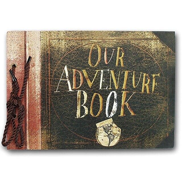 Ev ve Bahçe'ten Fotoğraf Albümleri'de Vintage Kraft siyah yaprak kağıt kartı bizim macera kitabı seyahat albümü el yapımı DIY fotoğraf fotoğraf karalama defteri fotoğraf albümü