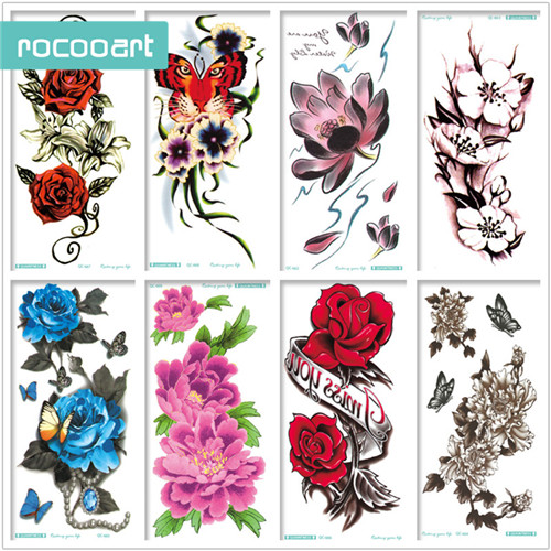 10 Floral Tattoo Artists You Could Trust Your Skin To: 8 Sheets Floral Waterproof Temporary Tattoo Flower Fake