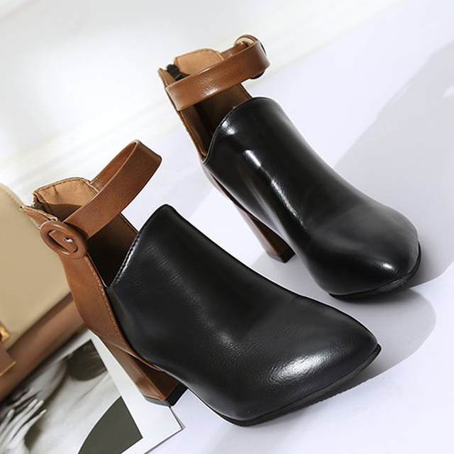 e185063a8 Botas mujer 2019 Autumn Winter Ankle Boots for Women Sharp head High-Heeled  Boots ladies Thick Heel Belt Buckle Ankle boots