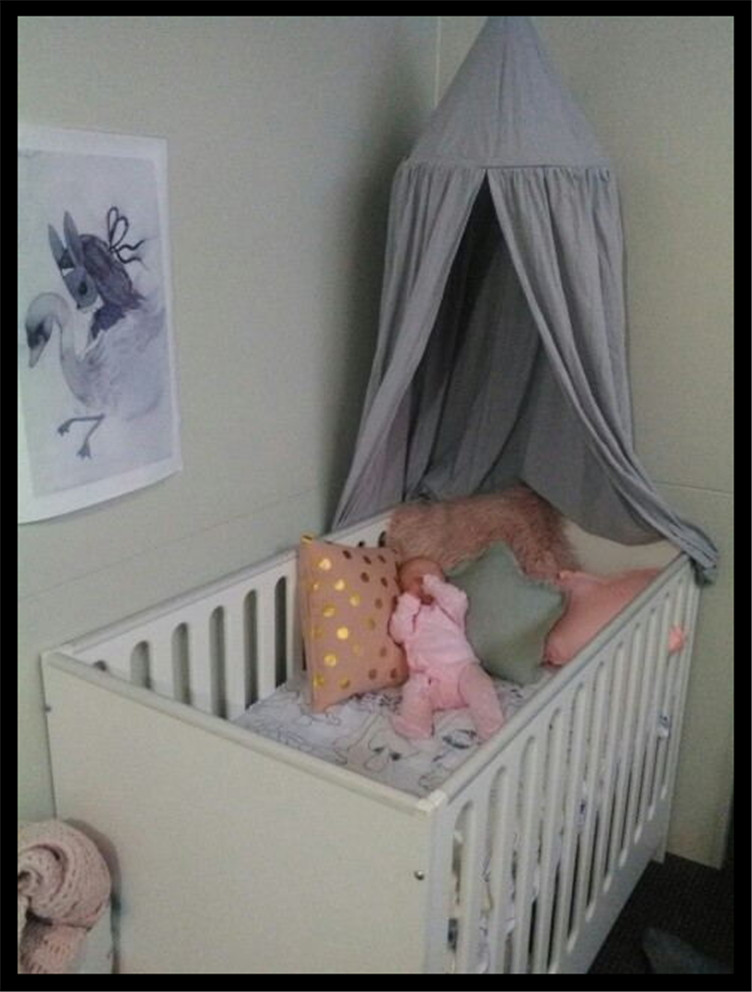 Krippe-netting Qualifiziert Baby Bettwäsche Krippe Netting Falten Prinzessin Mädchen Bett Baldachin Baumwolle Zelt Vorhänge Rahmen Moskito Kinder Moskito Net Bett Magnetische