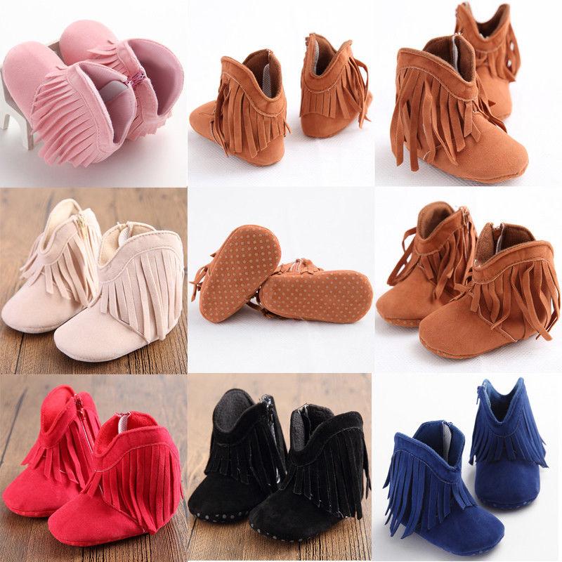 Newborn Baby Girl Boy Kids Prewalker Tassel Solid Fringe Shoes Infant Toddler Soft Soled Anti-slip Boots Booties 0-1Year