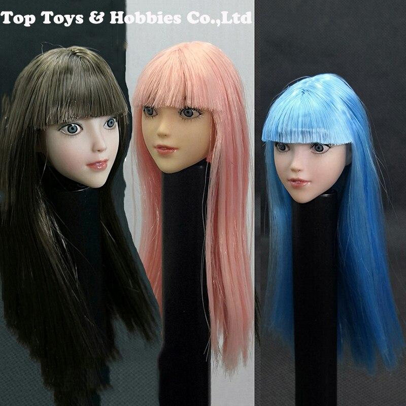 """1//6 Female Head Sculpt Mobile Yeux Pour 12/"""" femelle poupée PHICEN pâle Hot Toys"""