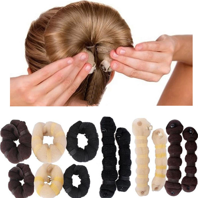 4pcs Beige Magic Foam Sponge Bun Maker Hair Donut Ponytail Clip Twist Sock Bun