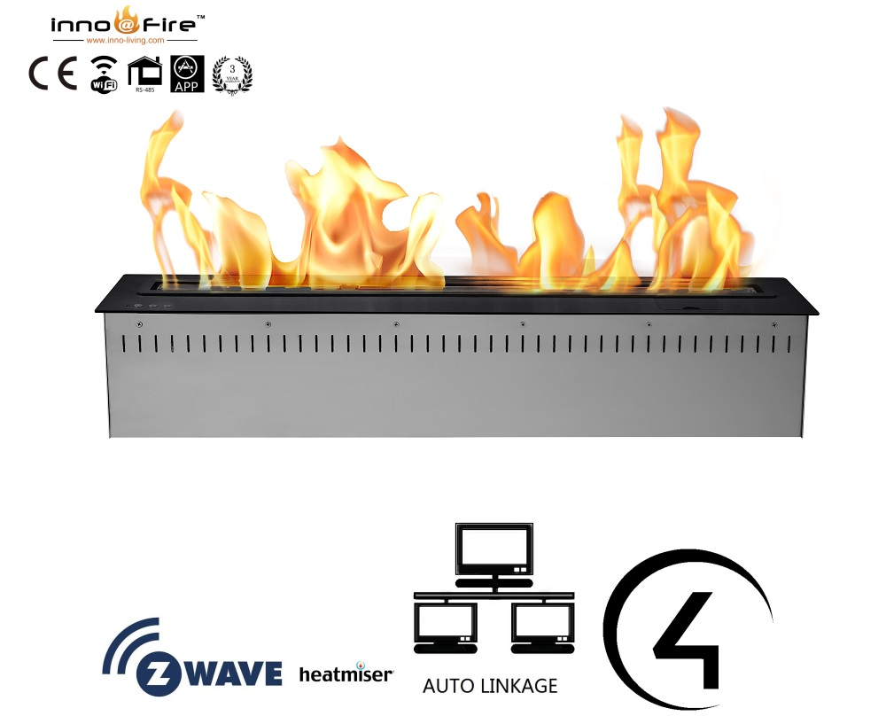 On Sale 48 Inch Built-in Fireplace Electronic Ethanol Burner With Remote Control