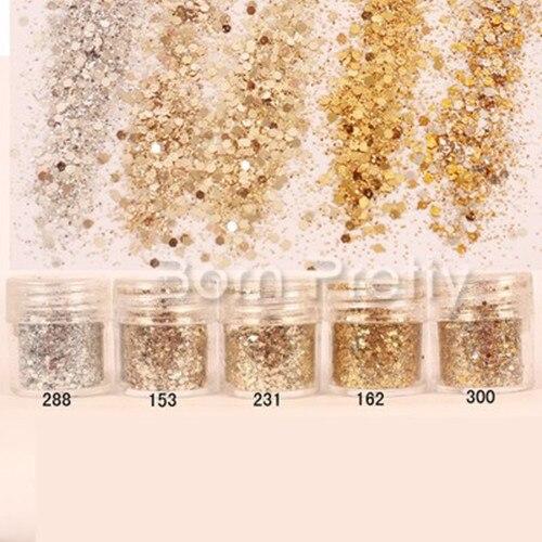 1 Коробка 10 мл Цвет Шампанского/Золотистый/ Серебристый Смешанная Ногтей Блеск Порошок Блестки Супер Макияж Блеск Ногтей Порошок комплект