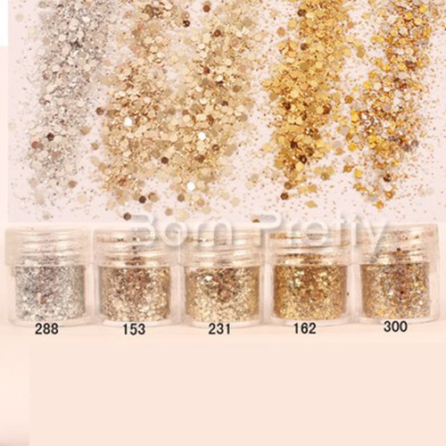 1 Box 10ml Mixed Nail Art Glitter Powder Champagne Gold Silver Sequins Super Makeup Glitter Nail Powder Set