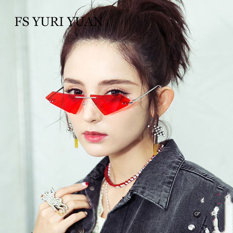255a8de08600 Best buy Rimless Cat Eye Sunglasses Men Women Cool Fashion Brand Designer  Small Size Triangle Sun Glasses Candy Colors Double Lens UV400 online cheap