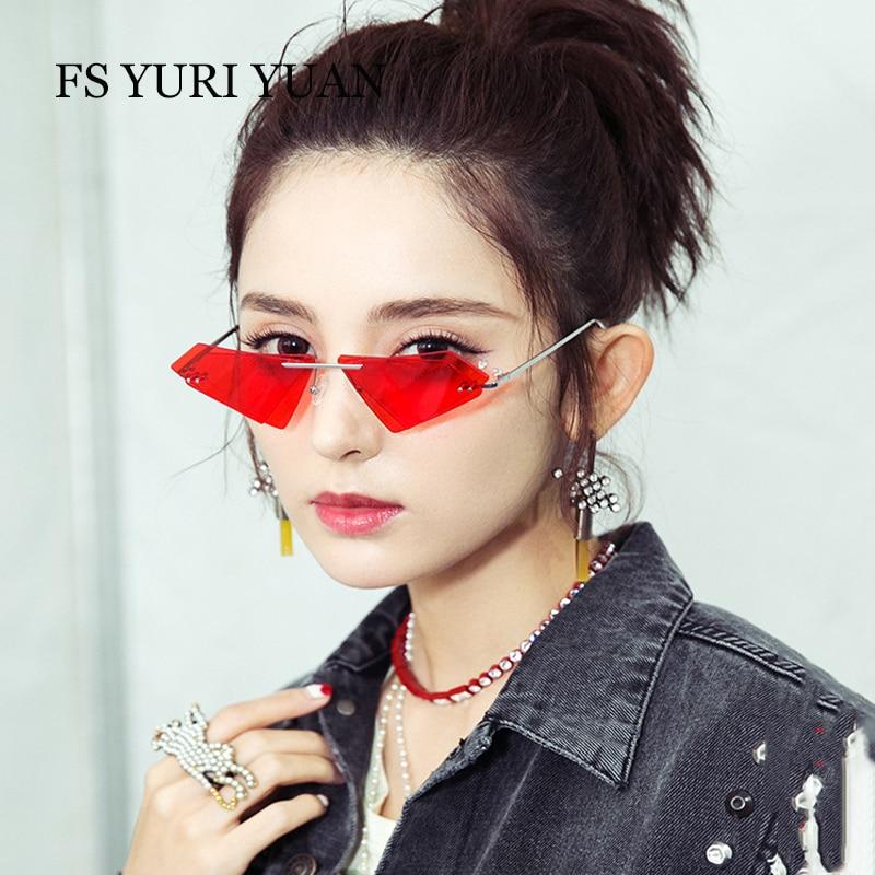 050cadb886c Best buy Rimless Cat Eye Sunglasses Men Women Cool Fashion Brand Designer  Small Size Triangle Sun Glasses Candy Colors Double Lens UV400 online cheap