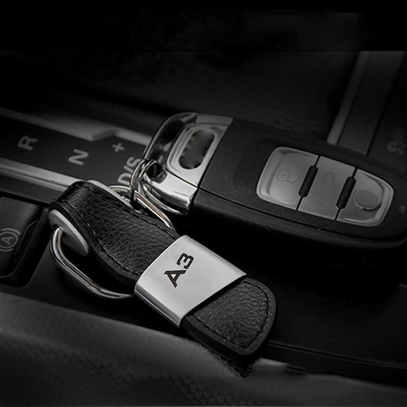 1 piezas de cuero de A3 coche llavero llave anillo Cadena de clave para Audi A3 8 P 8 V 8L sportback sedán S3 RS3 S línea Sline Quattro RS