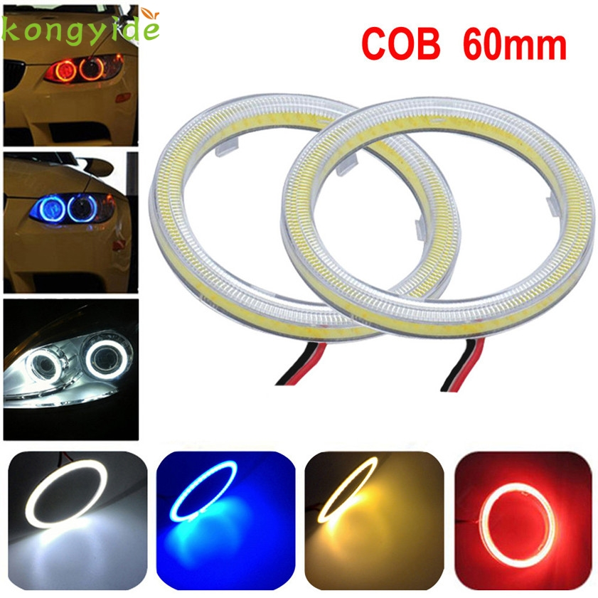 High Quality car-detector,car-styling2pcs White 60MM COB LED Angel Eyes Headlight Halo Ring Warning Lamps with Cover casual men s athletic shoes with mesh and color block design
