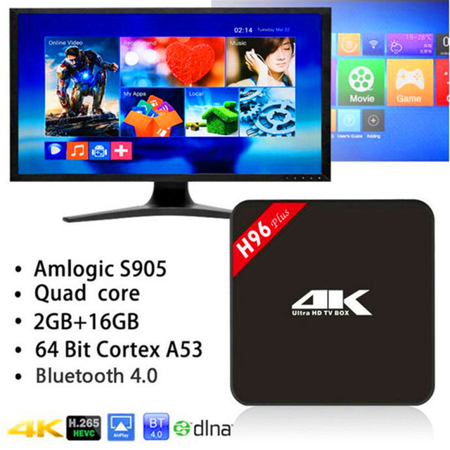 S905 H96 Plus TV Box Amlogic Quad Core 64Bit Android 5.1 elegante 4 K Reproductor Multimedia 2 GB 16 GB de Doble Banda WiFi Bluetooth4.0 Set Top caja