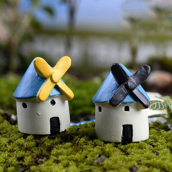Mini casa molino de viento casa miniatura jardín Decoraion artesanía de resina adornos en miniatura Micro molino de viento paisajismo para el hogar Decoración de patio