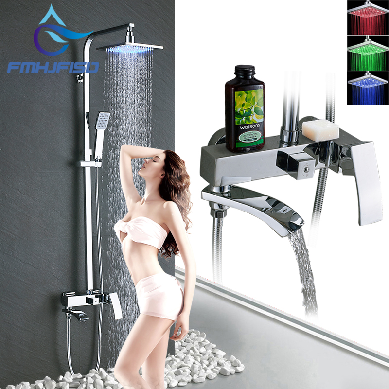 Wall Mouted Bathroom Shower Faucet LED Shower Head Mixer Valve Faucet Set