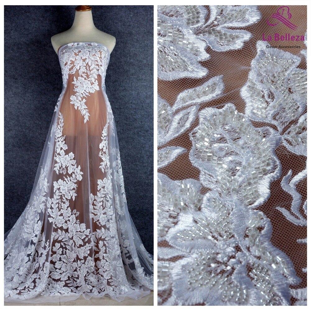 La Belleza 2019 nouveau tissu de dentelle perlé lourd pur blanc robe de mariée en dentelle tissu 1 yard-in Dentelle from Maison & Animalerie    1