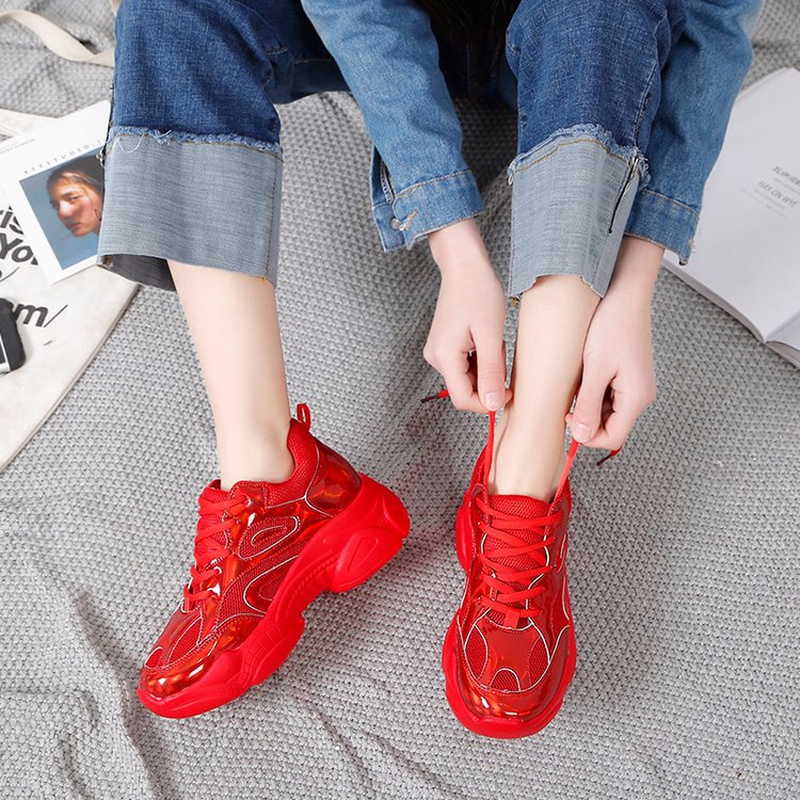 2019 Harajuku Nova Sliver laser Vermelho Robusto das Mulheres Sneakers Tenis Cesta Pai Shoes High Top Sneakers Plataforma Ocasional Das Mulheres REINO UNIDO-40