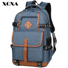 XQXA PU with Oxford Patchwork School Backpack for Teenagers Causal Simple High Grade School Bags for Boys High Quality Escolar