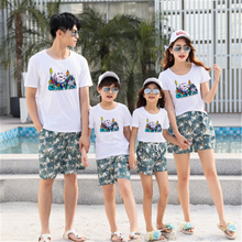 Family Matching Outfits Twinning Mother and Daughter Clothes Mom Daddy Girl Father Son Shirt +shorts