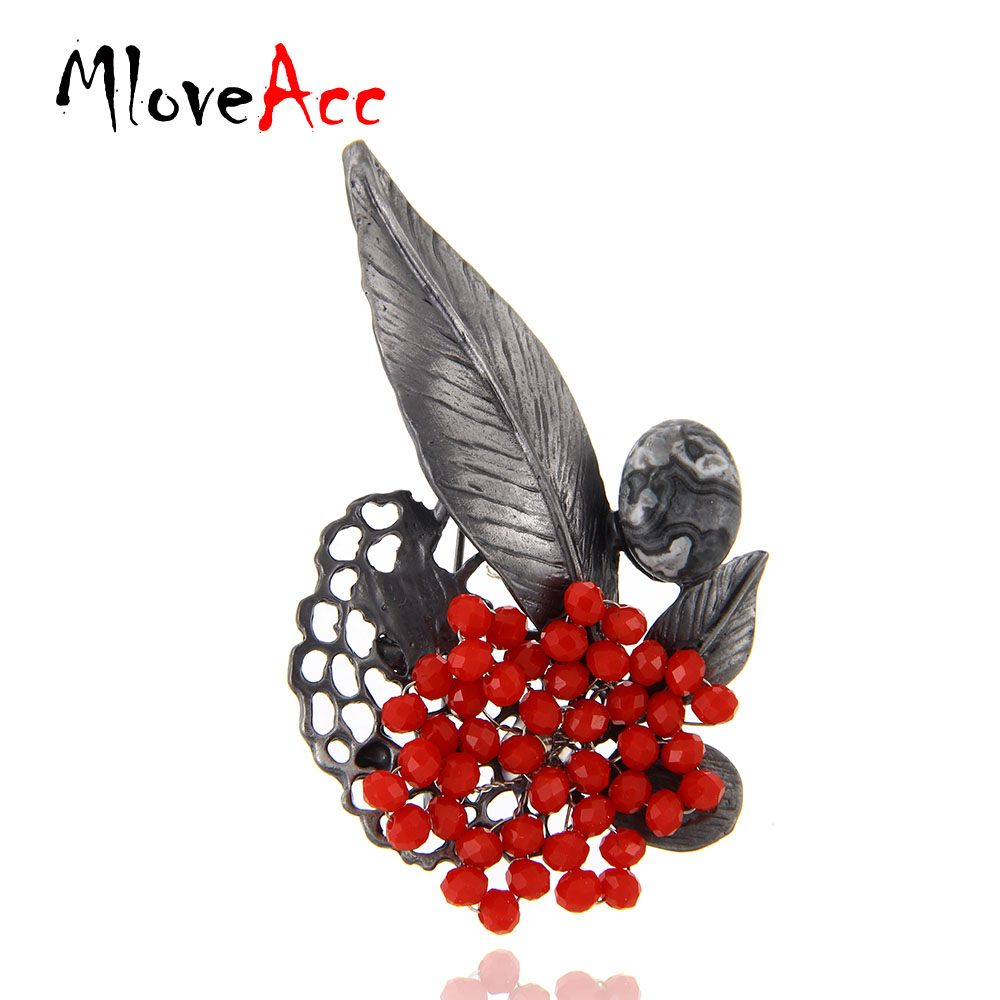 MloveAcc Retro Jewelry Gun Metal Vintage Broches de hoja Country Style Red Crystal Beads Broche Pins Mujeres Accesorios colgantes
