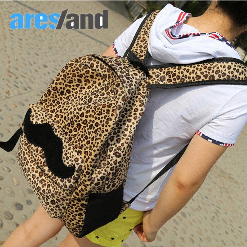 Aresland New Fashion Korea Style Backpack Women Girls Cute Moustache Leopard Backpack Schoolbag Travel Bag dermis women bag 2016 new leisure backpack camouflage personalized backpack korea institute of wind schoolbag