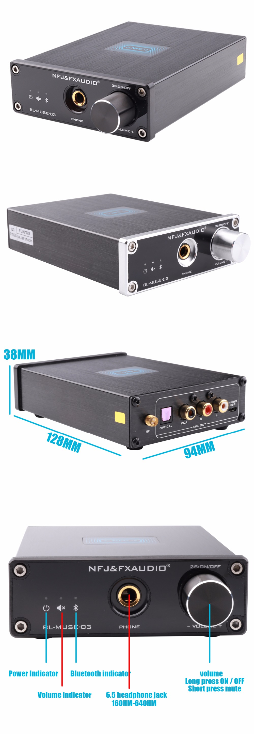 FX-Audio BL-MUSE-03 Bluetooth 4.2 CSRA64215 Audio Receiver DAC Decoding Lossless MINI HiFi Sound Quality Headphone Out Amplifier