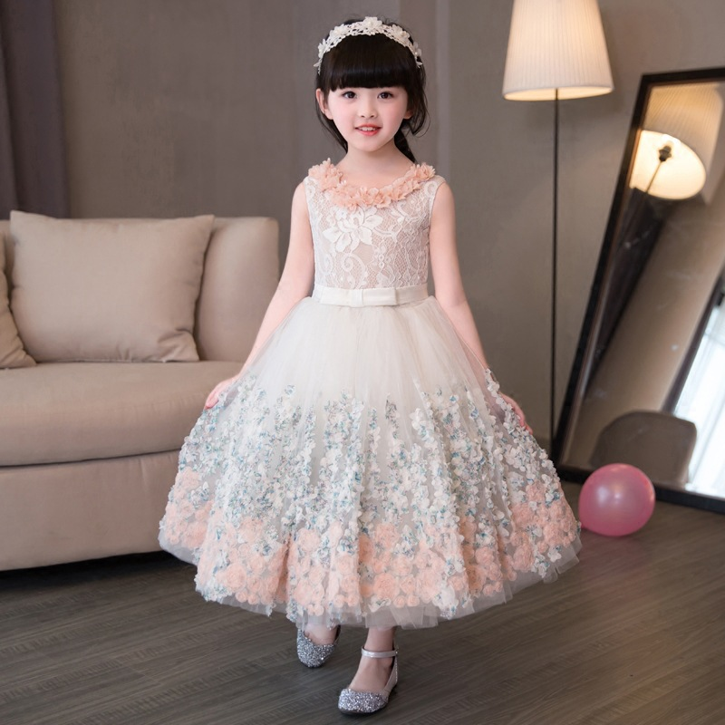 New Elegant Appliques Lace Wedding Flower Girls Dress Kids Baby Birthday Prom Party First Communion Gown Children Baptism Dress elegant flower lace lacut cut wedding invitations set blank ppaer printing invitation cards kit casamento convite pocket