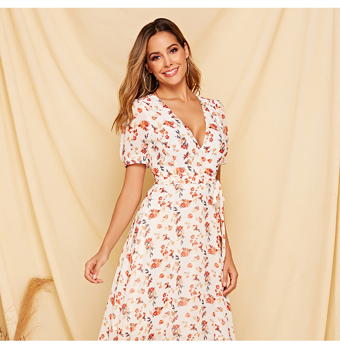 V-neck Short Sleeve Chiffon Floral Boho Dress
